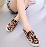 2014 autumn canvas shoes women flats leopard print lounged women's casual shoes sneakers women