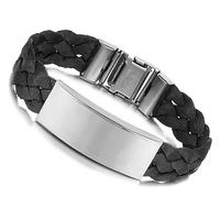 Free Shipping Hot Sale Punk Silver Stainless Steel Black Genuine Silk Weaving Men Bracelet male Bangles 15mm
