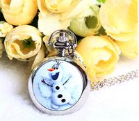 cartoon Anime Frozen snow kids quartz Pocket watch necklace fashion silver color alloy beautiful pendant chain
