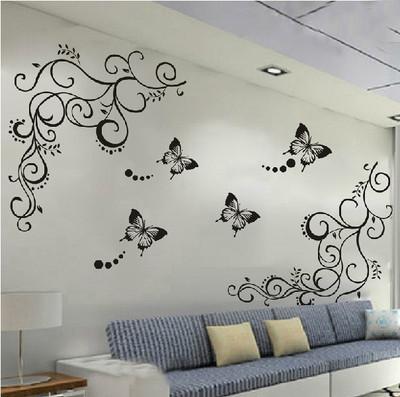 Горячая бабочка feifei вайн стикера цветка стены термоаппликации съемный