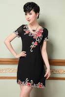 2015 spring/summer new L-4XL women dress short sleeve flower print dress for elegant lady plus size casual black dress G91Y