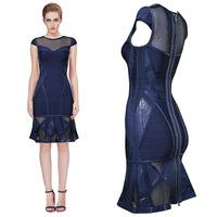 2014 New Style Top Quality 1:1 Darkblue Color HL Bandage Dress Short Sleeve Evening Party Dress Celebrity Dress Wholesale