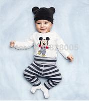 Cotton  baby sets clothes 3pcs(Long-sleeved Romper+hat+pants)children clothing