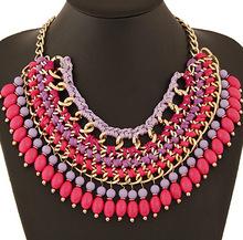New 5 color hot Arrival big gem necklaces pendants Trendy fashion bubble bib choker chunky statement