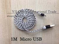 Free Shipping 600pcs/lot 1M 3feet Micro USB Fabric Braided wire Cloth Nylon Data Cable for Samsung LG Sony  Wholesale