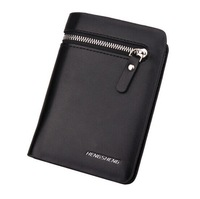 New Arrival!Free Shipping Leather short wallet with zipper coin purse Classic black/brown Soft Designer Wallet