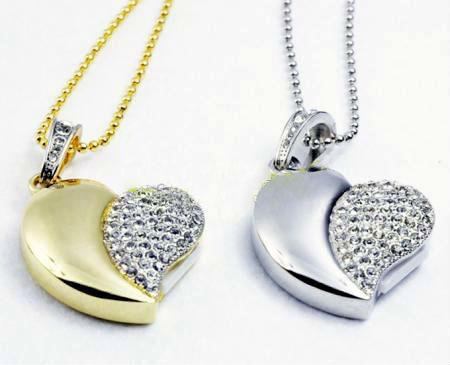 Diamond crystal heart usb flash drive USB 2.0 Memory Stick pendrive 8GB 16GB 32GB mini luxury necklace pendrives free shipping(China (Mainland))