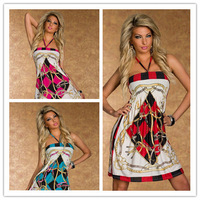 Dress spring winter  2014 2015 new fashion ethnic print stripes mini bodycon dropped sexy women clubbing dress Russian trend