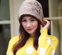 Free Shipping 2015  New Arrival Winter Cheap Ladies Hats Homies Knitting Wool Leopard Star Print Warmer Women Skullies Beanies