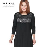Msshe plus size clothing 2014 elastic paillette cutout lace patchwork 2280 one-piece dress