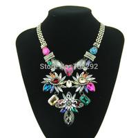 Hot Vintage Luxury Rhinestone Crystal Flower statement necklace Choker women Necklaces & pendants