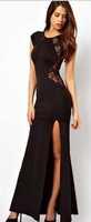free shipping!2015New European Large Size Sexy Lace Dress Slit Dresses Nightclub Long Dress red lace dress