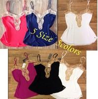 Blusas Femininas 2014 Spaghetti Strap Splicing V-neck Lace Vest Women Summer Loose Casual Shirt Tops Blouse Ladies Tanks & Camis