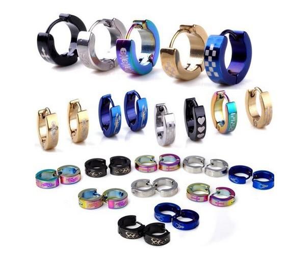 Mix Wholesale 24Pairs/lot Women/Men 316L Stainless Steel Hoop Earrings Multi Color Unisex Small Stainless Steel Earrings Silver(China (Mainland))