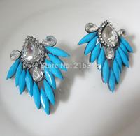New shou design acrylic stud earrings fashion tear glass beads earrings for women leaf earrings charm jewelry wholesale price