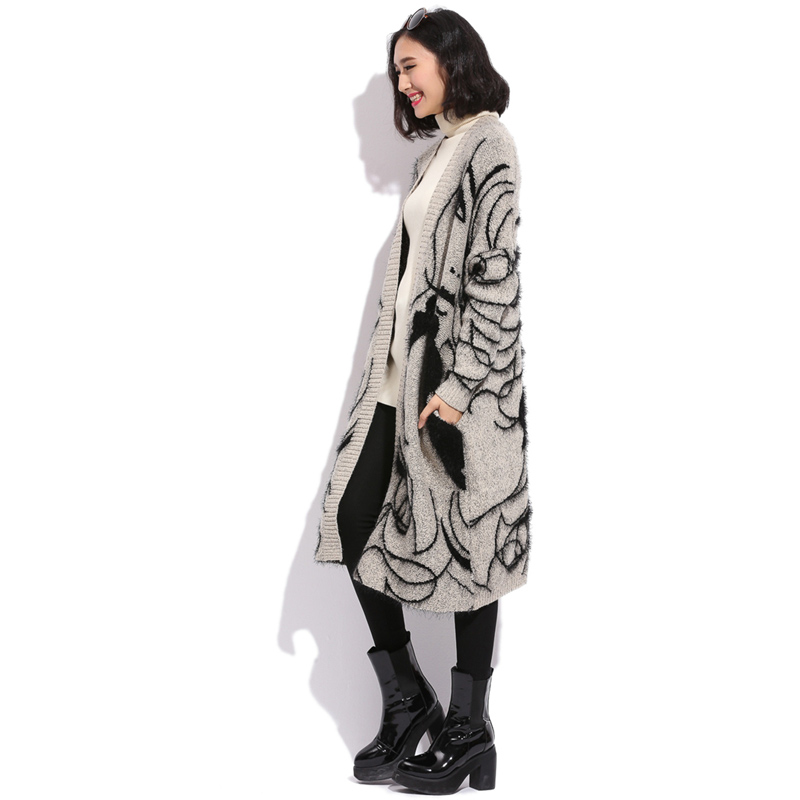 Free shipping CD-5027 plus size wool seahorse patchwork cardigan thick sweater long-sleeve outerwear long design women's(China (Mainland))
