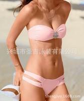 2015 New Fashion Women VS Heart Rhienstone Sexy Bikini Set Summer Pink Bikini Swimwear with Padded Bathing Suit Bikinis