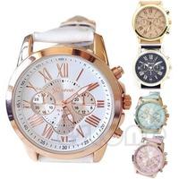 J34 Free Shipping Women Geneva Roman Numerals Analog Faux Leather Chic Stylish Quartz Wrist Watch