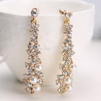 J34 Free Shipping Elegant Chic Women Lady's Pearl Rhinestone Dangle Chandelier Earrings Jewelry