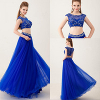 2015 Newest Fashion Royal Blue Beaded Organza Two Piece Prom Dresses Vestido De Formatura Online Party Dress Long Made In China