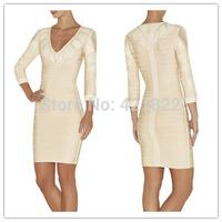 2015 new arrival high quality white long sleeve deep V  bandage Celebrity dress Party Evening Dresses HL