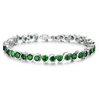 Vintage white gold plated Bracelet Crytal Beads Green or Purpul stone charm wedding bracelet 18m 929