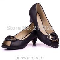 4.5 cm heeled EUR34-40 Elegent Womens peep toe Bowtie Square Heels  Womens Pumps Classic Ladies Working Shoes