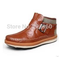 Hot sale 2015 Male warm genuine leather ankle boots fashion casual martin boots men winter plus velvet snow boots plus size