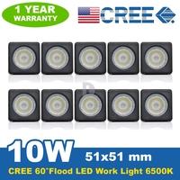 10* 10W CREE LED Work Light Bar Offroad Light 6500K 800LM Modular FLOOD HIGH POWER REVERSE LAMP Boat Car Truck SUV Light 12V/24V