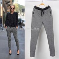 High Quality New 2015 Spring Fashion Womens Sport Harem Pants Sweatpants Linen Cotton Waist Sports Skinny Trousers For Women