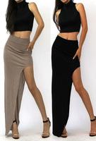 Europe And America Irregular Sexy Package Hip Skirts High Waist Side Slit Skirt Long Sections Women Skirt