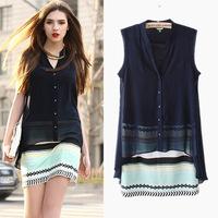 2014 European Women's Sleeveless Summer Dress Hip Package Slim Stitching Fake Two Piece Slim Chiffon Dress Pink/Dark Blue Zex188