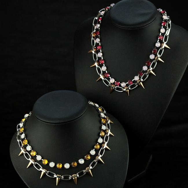 J * L europeus e americanos grande cobre rebites soltos unhas de cristal de vidro Prong colares(China (Mainland))