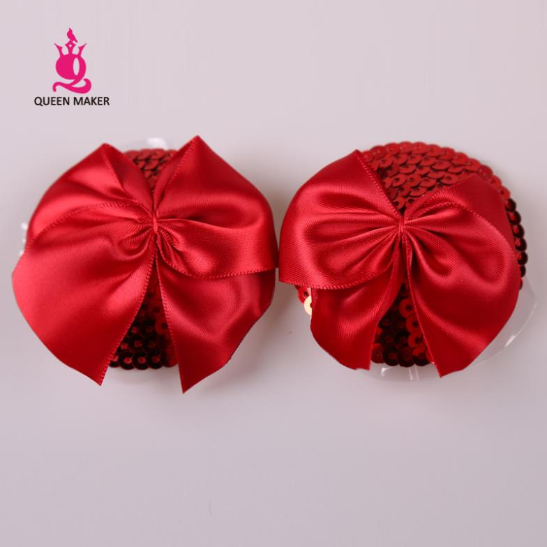QueenMaker Christmas red sequined chest to Valentine's day red bow pads reusable pasties Big butterfly knot Nipple cover(China (Mainland))