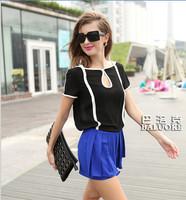 Free Shipping 2014 New Women's Fashionable Black and White Modern Tops Retro Hit Color Chiffon Shirt Short-sleeved T-shirt S-XL
