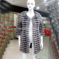 Hot Sale! 2014 New Spring Women Genuine Silver Fox Fur Outwear JacketNatural Furs Vests Waistcoats Fashion Outerwear Plus Size