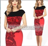 New 2015 Summer Spring Women Short-Sleeve Knee-Length Sexy Patchwork Pencil Dress Casual Ladies Elegant Office Dresses