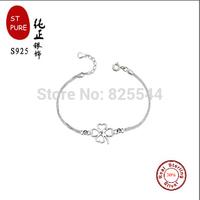 2015 snowtree st pure silver hot sale 30% silver print PT four leaves love  fashion bracelets