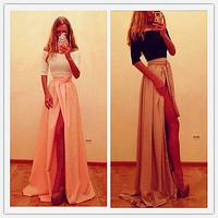Hot New Lady Sexy Bandage Party Clubwear Women Slash neck  Long Sleeve Maxi Long Side Slit Dress Vestidos