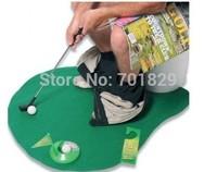 Free Shipping 1Set Potty Putter Toilet Golf Game Mini Golf Set Toilet Golf Putting Green with Retail Box