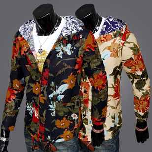 2015 Slim Hooded about delicate Famous men single-breasted jacket plant flowers(China (Mainland))