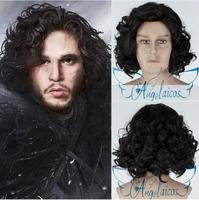 Angelaicos Game Of Thrones Jon Snow Black Curly Fluffy Men Christmas Costume Cosplay Wigs