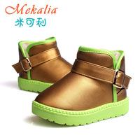 Children's Boots Winter Warm Waterproof PU Short Boots For Kids Boy Girls New Fashion Child Shoes Silver Golden Black Red