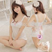 Women's sexy underwear sexy sleepwear transparent silk side sexy nightgown set sleepwear adult sex products