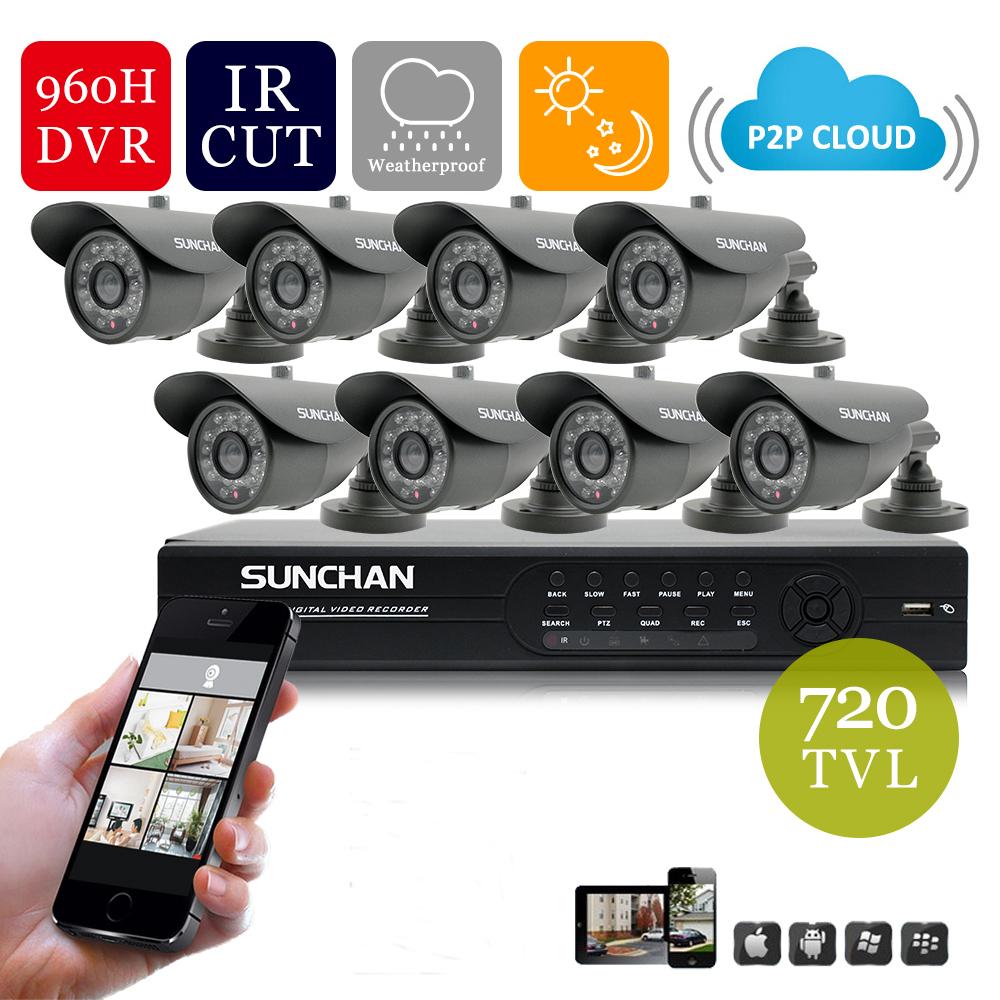 SUNCHAN Home 720TVL CCTV Security Camera System 8Channel 960H D1 HDMI DVR Video Surveillance System Camera Kit(China (Mainland))