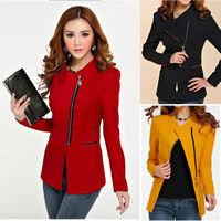 2015 New fashion hot women zipper blazers long sleeve Slim small leisure suit jacket female brand women blazers 3color s-xl