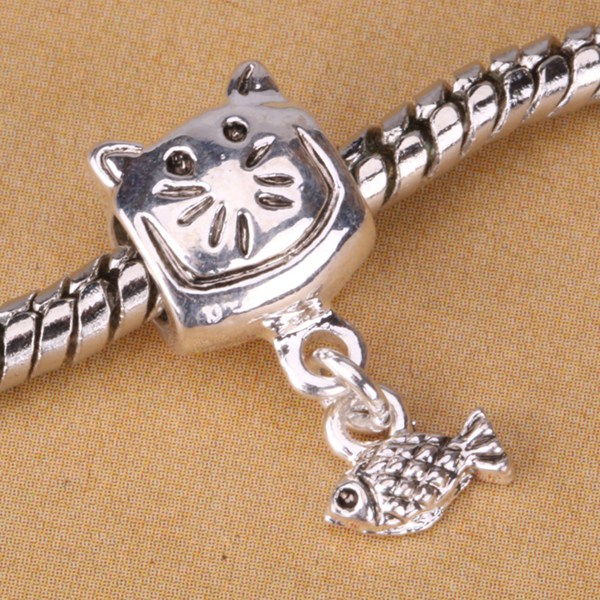 G007 925 sterling silver DIY Beads Charms fit Europe pandora Bracelets necklaces Anchor fish etjankqa gucaplja