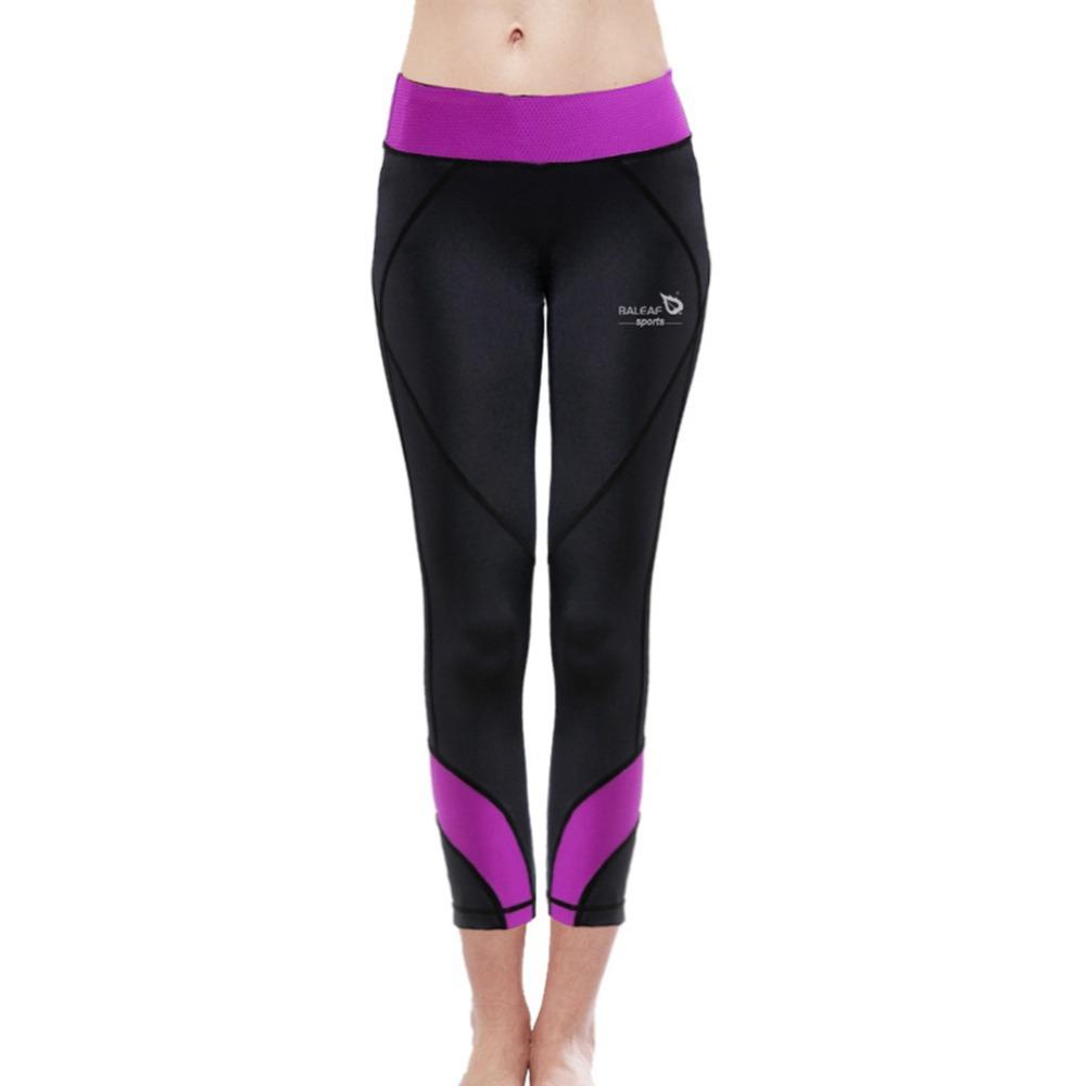 Baleaf New Arrival Women Fitness& Yoga Leggings W/ Purple Waistband Highly Elastic Slim-fitting GYM Bodybuilding Yoga Pants S-XL(China (Mainland))