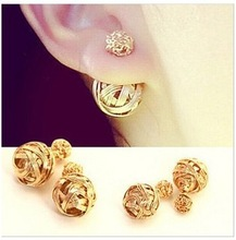 Hot Selling New 2015 Fashion Double Sides Pearl Earring, Two Gold Ball Stud Earrings For Girls Gold Plated Beads Jewelry