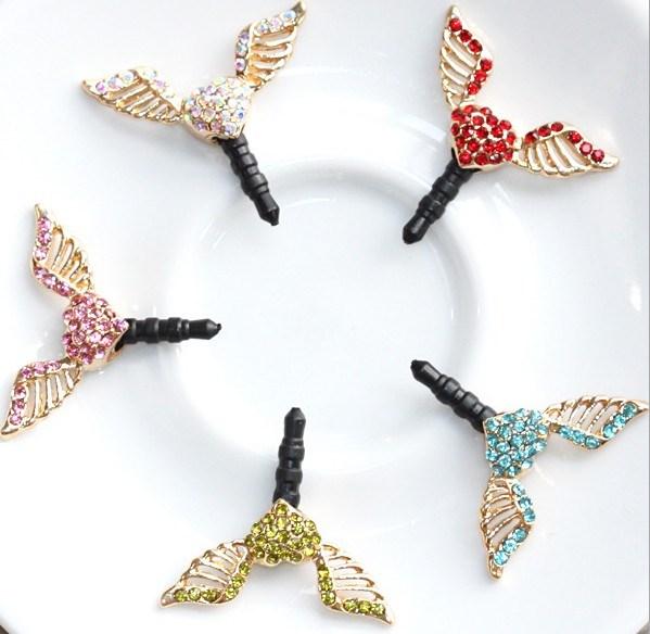 New style Luxury diamond Angel wings flying phone dust plug headphones headset for iphone accessories 3.5mm jack plug 10pcs(China (Mainland))